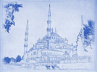 Photograph - Sultan Ahmed Mosque Istanbul Blueprint by Kaleidoscopik Photography