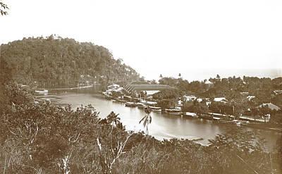 Sumatra, Boats And Crops Along Handelskade Padang Art Print