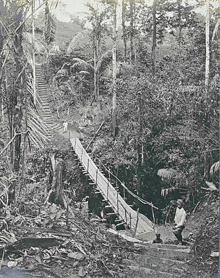 Suspension Drawing - Sumatra Indonesia, Suspension Bridge At Gunung Rintel by Artokoloro