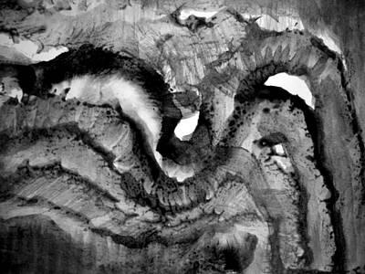 Clay Drawing - Sumi-e 130427-5 by Aquira Kusume