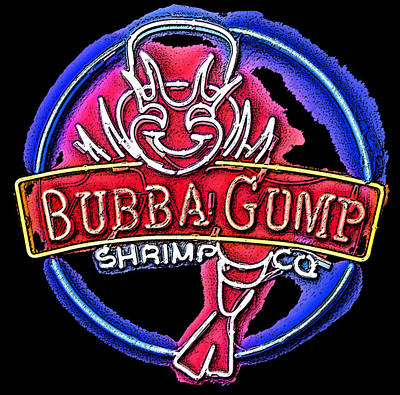 Sumi-e Bubba Gump Sign Art Print by Marian Bell