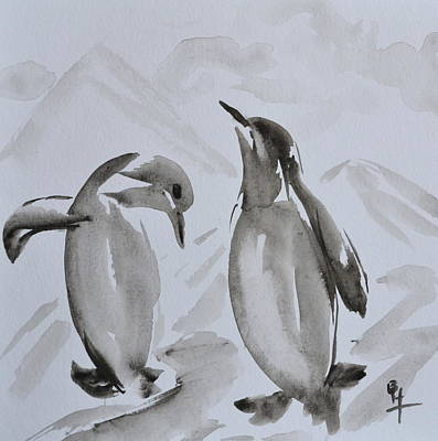 Sumi-e Penguin Dance Original by Beverley Harper Tinsley