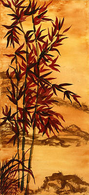 Painting - Sumi-e Red Bamboo by Diane Ferron