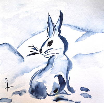 Sumi-e Snow Bunny Art Print by Beverley Harper Tinsley