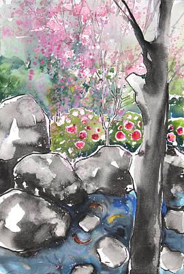 Millbury Painting - Sumie No.15 Japanese Garden by Sumiyo Toribe