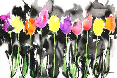 Millbury Painting - Sumie No.16 Tulips by Sumiyo Toribe