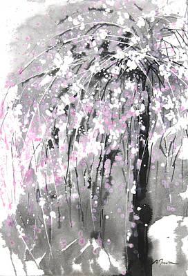 Millbury Painting - Sumie No.19 Weeping Cherry Blossoms by Sumiyo Toribe