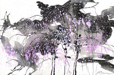Sumie No.6 Weeping Willow Cheery Blossoms Art Print by Sumiyo Toribe