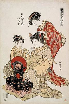 Make-up Painting - Suminoto Of Okanaya, From The Series by Isoda Koryusai