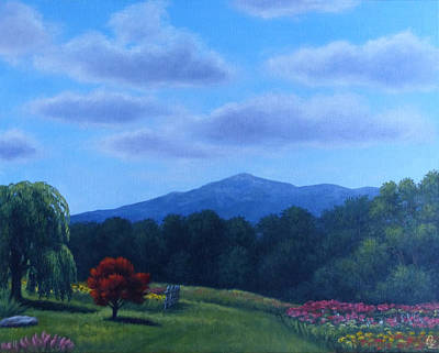 Mt. Monadnock Painting - Summer 2012 Mt Monadnock From Rosaly's Garden by Oksana Zotkina