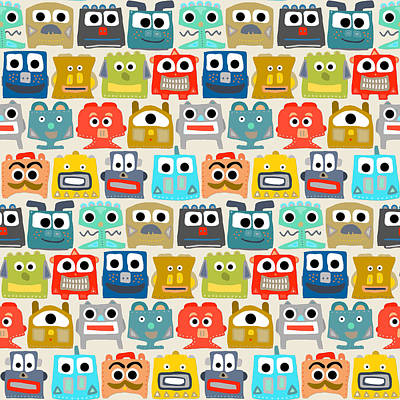 Quirky Drawing - Summer Baby Robots by Sharon Turner