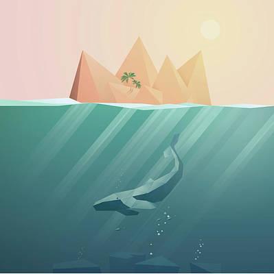 Digital Art - Summer Background With Underwater by Jozefmicic