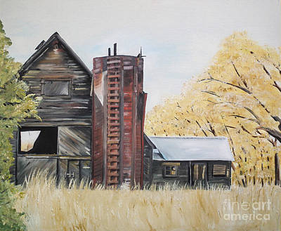 Painting - Golden Aged Barn -washington - Red Silo  by Jan Dappen