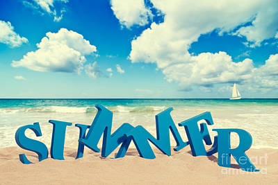 Words Background Photograph - Summer Beach by Amanda Elwell