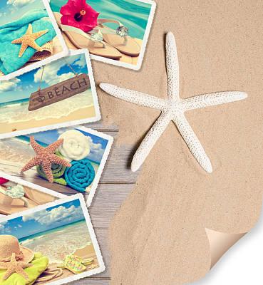 Summer Beach Postcards Art Print by Amanda Elwell