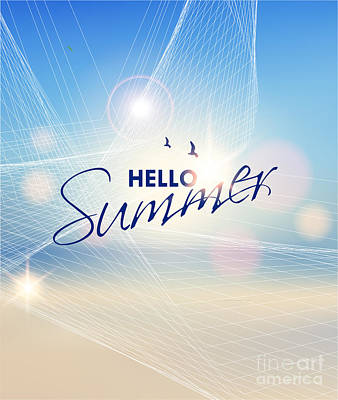 Sunshine Wall Art - Digital Art - Summer Beach-vector Background by Alessandram