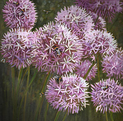 Allium Painting - Summer Bees by Helen White