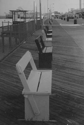 Summer Benches Seaside Heights Nj Bw Art Print by Joann Renner