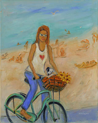 Painting - Summer Bicycling By A Nude Beach by Xueling Zou