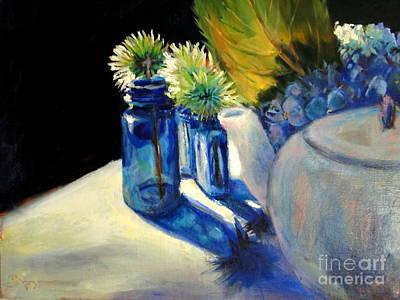 Teapot Painting - Summer Blues by Bonnie Seyford