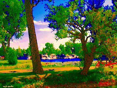 Painting - Summer Boats Moored Along Tree Lined Lachine Canal Quebec Landscapes  Montreal Art Carole Spandau by Carole Spandau