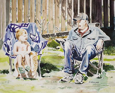 Painting - Grandfather  And Grandson Summer Bonding by Gertrudes  Asplund