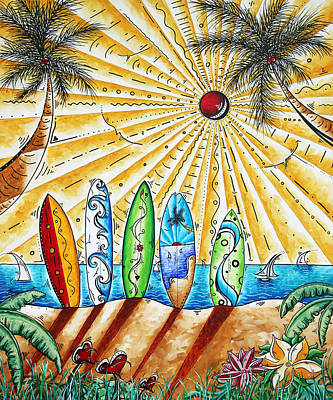 Surfing Art Painting - Summer Break By Madart by Megan Duncanson