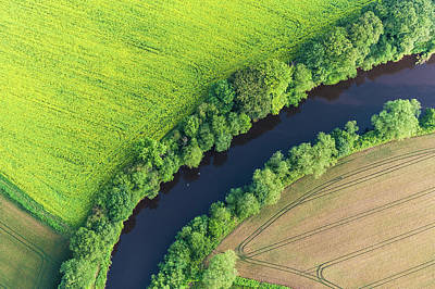Photograph - Summer Crops Harvest Fields River by Fotovoyager