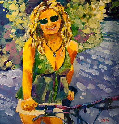 Sports Paintings - Summer Cycling by Sue Darius