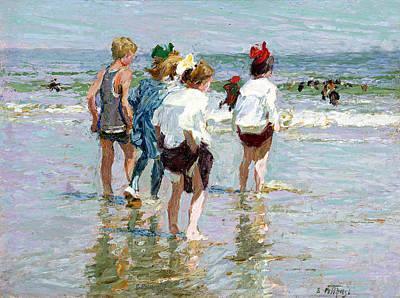 Summer Day At Brighton Beach Art Print by Edward Potthast