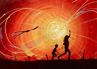 Children Flying Kite Painting - Summer Daze   by Jack Hanzer Susco