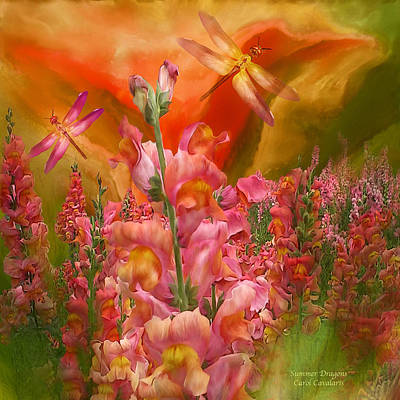Mixed Media - Summer Dragons - Square by Carol Cavalaris