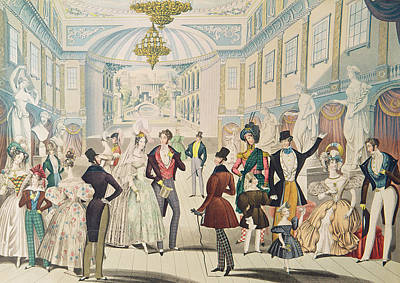 Regency Era Wall Art - Photograph - Summer Fashions For 1836 Colour Engraving by English School