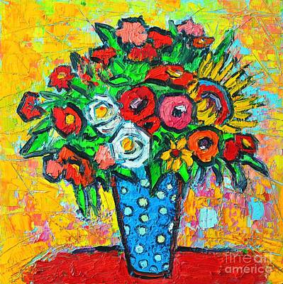 Summer Floral Bouquet - Sunflowers Poppies And Roses Art Print by Ana Maria Edulescu