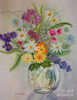 Summer Flowers In Vase Art Print by Terri Maddin-Miller