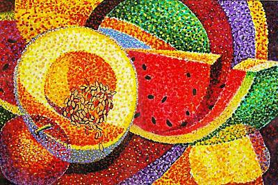 Cantaloupe Painting - Summer Fruit by JAXINE Cummins