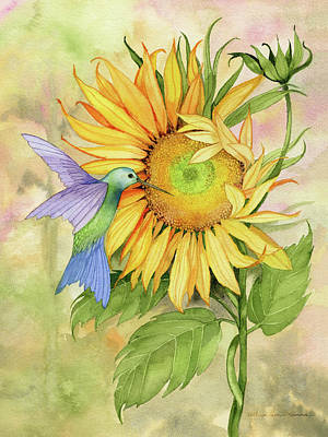 Sunflower Watercolor Painting - Summer Fun Bird by Kathleen Parr Mckenna