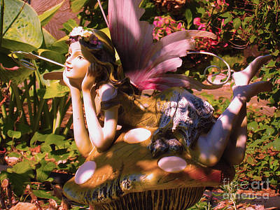 Photograph - Summer Garden Fairy In Pink by Nina Silver