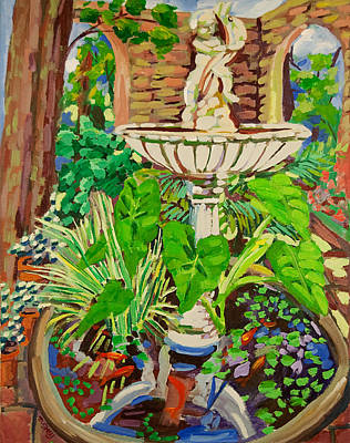 Painting - Summer Garden Fountain With Goldfish by Doris  Lane Grey