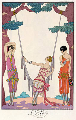 Evening Dress Painting - Summer by Georges Barbier