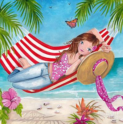 Flower Pink Fairy Child Painting - Summer Hammock by Caroline Bonne-Muller