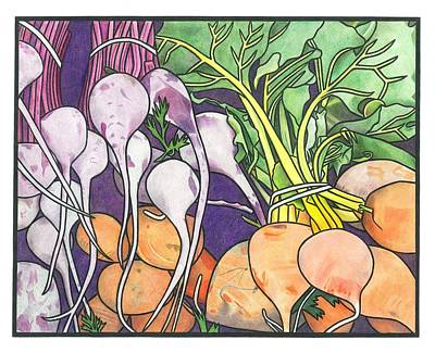 Vegetable Market Drawing - Summer Harvest by Lesley Rutherford