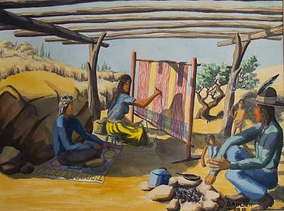 Navajo Children Painting - Summer Hogan by Gary Rowell