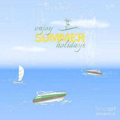 Waves Digital Art - Summer Holidays Background By The Sea by Ftotti10