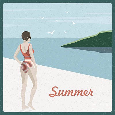 Water Digital Art - Summer Holidays Retro Poster Woman The by Antartstock