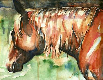 Sorrel Horse Painting - Horse Painting In Watercolor Summer Horse by Maria's Watercolor