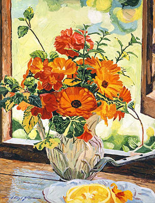 Floral Arrangement Painting - Summer House Still Life by David Lloyd Glover