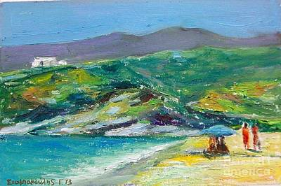 Painting - Summer In Greek Island by George Siaba