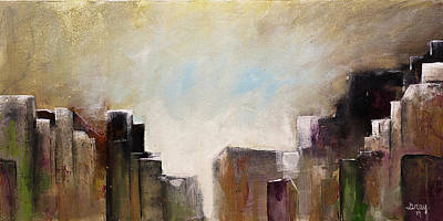Painting - Summer In The City Abstract Geometric Original Painting On Canvas by Gray  Artus