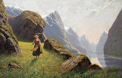 Fjord Painting - Summer In The Fjord by Hans Dahl